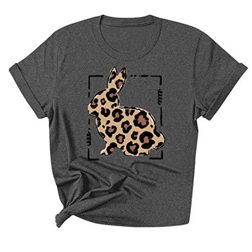 Camisa de Mujer de Pascua, Camiseta Ajustada de Manga Corta con Estampado de Leopardo y Cuello en O de Pascua para Mujer Dark Gris S 2021 Último