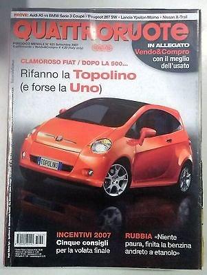 Quattroruote N. 623 Settembre 2007:Incentivi 2007 Fiat dopo la 500 la Topolino