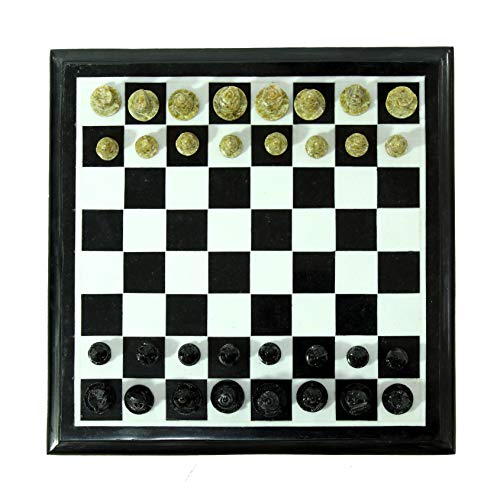 Queenza Chess Set Marble – 12 Inch Natural Black & White Marble Chess Board with Handmade Soap Stone Pieces – Handmade Square Chess Set Table for Kids & Adults