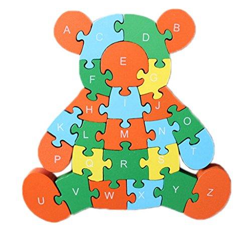 Bigood Puzzle Jouet Enfant Bébé Fille en Bois Alphabet Chiffre Cognition Eveil Cubs