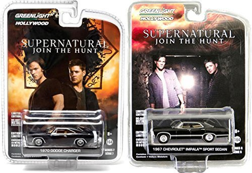 Greenlight Supernatural TV Series Cars 1967 Chevrolet Impala & Dodge Charger Set from Hollywood Entertainment 1:64