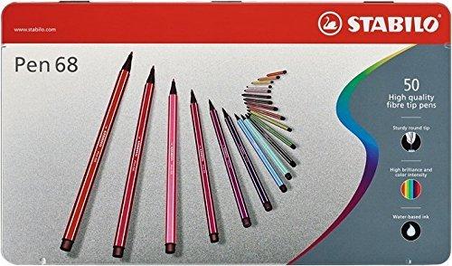 Pennarello Premium - STABILO Pen 68 - Scatola in Metallo da 50 - Colori assortiti