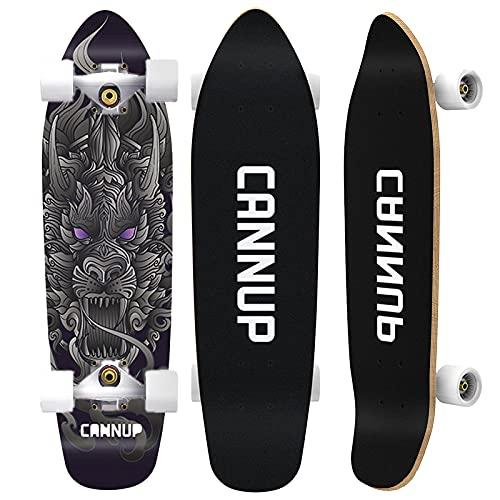 VOMI Skateboard Completo, Tabla Skate con 4 Ruedas de PU Altamente EláSticas, Monopatín para Niños Adultos Adolescentes, 7 Capas de Arce Cruiser Patineta con Rodamiento de Bolas ABEC-9,Black Dragon