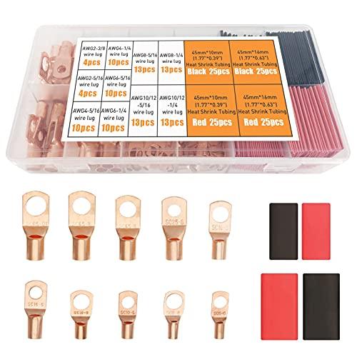 Tsinglax – Pinzas de alambre de cobre [AWG2 4 6 8 10 12] con juego de termorretráctil, terminales de batería para cables de batería, conectores de terminales de anillo con tubos termorretráctiles