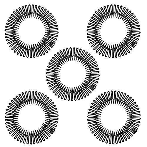 Lot de 5 peignes à dents en plastique noir élastique et flexible pour laver le visage
