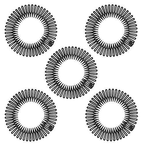 Changlesu 5 Stücke Mode Schwarz Kunststoff Vollkreis Stretch Flexible Kamm Zähne Stirnband Haarband Clip Gesicht Waschen Feste Haarschmuck (Schwarz)