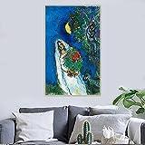 YRZYT Marc Chagall Cuadros 《A Mariee A La Lune》 Oil Cuadromarc Chagall Poster Cuadros Abstract Artwork Canvas Print Marc Chagall Gallery Cuadros Living Room Decor