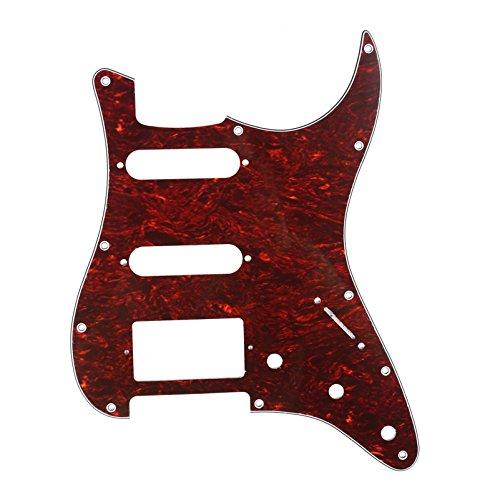 Musiclily 11 Furos Escudo HSS Pickguard Strato para Guitarra Fender EUA / Mexicana Made Stratocaster Standard Estilo Moderno, 4 Camadas Vermelho Tortoise