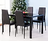 ModernLuxe 5 Pieces Dining Table Set, Elegant Tempered Glass Table and 4pcs Faux Leather Dinning Chairs, Perfect for Kitchen, Breakfast Nook, Bar, Living Room