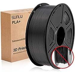Filamento SUNLU PLA+ Nero 1,75 +/- 0,02 mm, Filamento per stampante 3D PLA Plus 1,75 mm Bobina da 1 kg per la stampa 3D