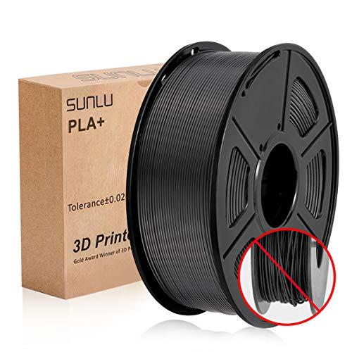 SUNLU Filamento della stampante PLA plus Filament 1.75mm, 3D Printer Filament PLA+, 1KG Black