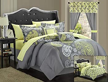 Chic Home Olivia 20-Piece Comforter Set Reversible Paisley Print Complete Bed in a Bag with Sheet Set Window Treatments and Decorative Pillows King Grey/Yellow