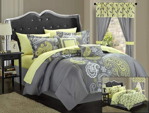Chic Home Olivia 20-Piece Comforter Set Reversible Paisley Print Complete Bed in a Bag with Sheet Set, Window Treatments, and Decorative Pillows, King Grey/Yellow