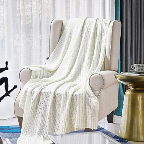 Softan 100% Baumwolle Stricken Decke, Weiche Warme Antistatische, 120x150cm Beige