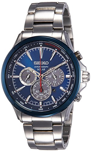 Seiko Herren Chronograph Solar Uhr mit Edelstahl Armband SSC495P1