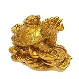 DyNamic Harz Statue Dekoration Feng Shui Drachenschildkröte Schildkröte Goldmünze Geld Reichtum Figur