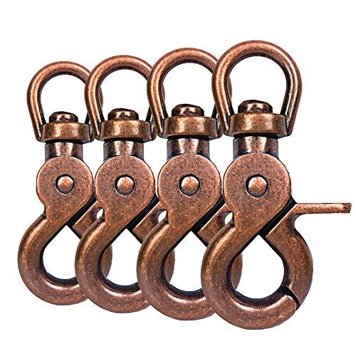 Ganzoo Scheren-Karabiner Haken mit Dreh-Gelenk/Dreh-Kopf für Hunde-Leine/Hals-Band 4er Set, legierter Stahl ? 61mm Länge, auch für Paracord 550 / Schlüssel-Anhänger, Farbe: braun