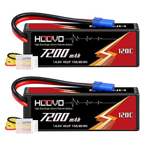 HOOVO 4S 14.8V 7200mAh 120C RC LiPo Battery Hard Case with EC5 Connector for RC Buggy Truggy Crawler Monster Car Boat Truck(2 Pack)