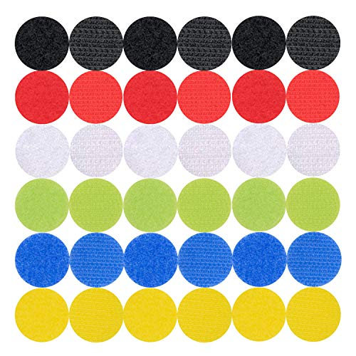 Hook and Loop Dots Self Adhesive Sticker Reusable Multicolored Back Tape Strips Fabric Fastener Double Side Nylon (Round Colorful)