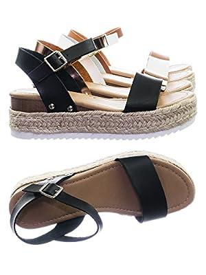 SODA Women's Open Toe Ankle Strap Espadrille Sandal