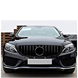 WXQYR Parrilla Delantera del Coche, Parrilla de Parachoques, Parrilla de Carreras de riñón, Parrilla de Coche para Mercedes Clase C W205 C205 Sport Coupe C63 2015-2018, Accesorios de Coche