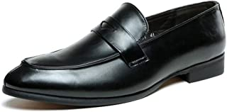 XinQuan Wang Business Oxford for Men Casual Shoes Slip on Microfiber Leather Point Toe Split Joint Burnished Style PU Lined Block Heel Party (Color : Black, Size : 6.5 UK)