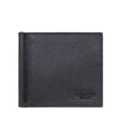 [コーチ] COACH 財布(二つ折り財布) F23847 ブラック クロスグレーン レザー ビルフォールド マネークリッ...