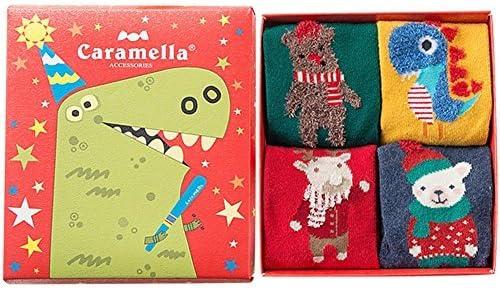 4-Pairs Kids Socks Caramellas- Thick Warm for Winter Organic Cotton Gift Box b