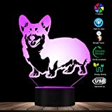 The Geeky Days Corgi Dog LED Night Light 3D Decorative Lighting Color Changing Acrylic Lamp Gift for Dog Lovers