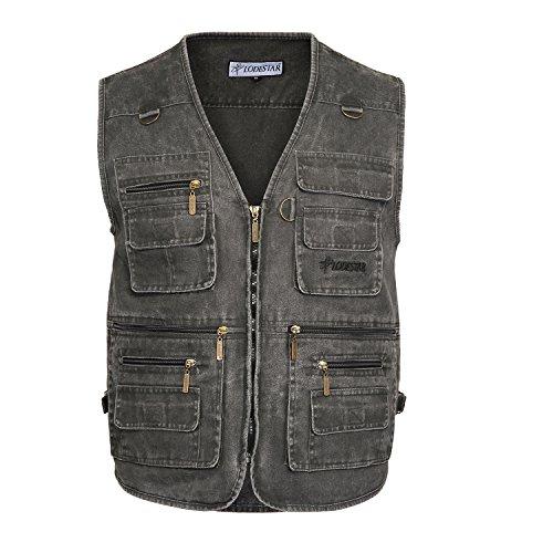 Belloo Herren Outdoor Sport Weste mit 16 Taschen, Farbe Grau, Gr. 3XL(EU: XL)