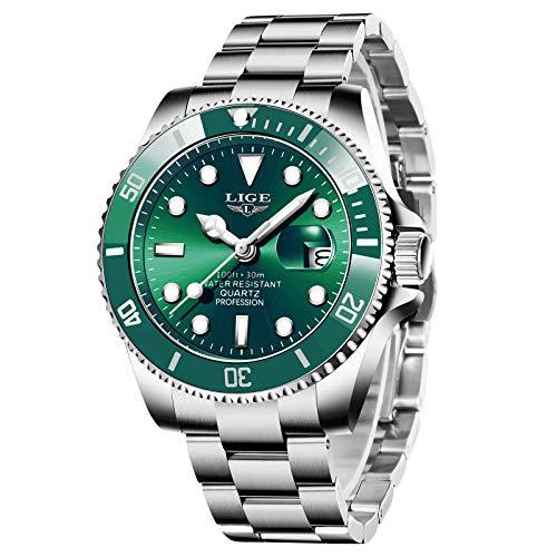 LIGE Reloj para Hombre Reloj Deportivo Militar Clásico de Moda Reloj Cronógrafo Deportivo Impermeable Aire Libre Esfera Verde Elegante Reloj de Cuarzo Analógico para Hombre