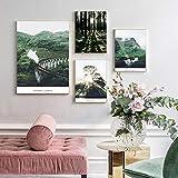 Paisaje Escandinavo Pared Arte Lienzo Pintura Bosque Verde Montaña Poster Impresiones Cuadros Decoracion Salon A3 30x42cmx3 B2 50x70cm Sin Marco