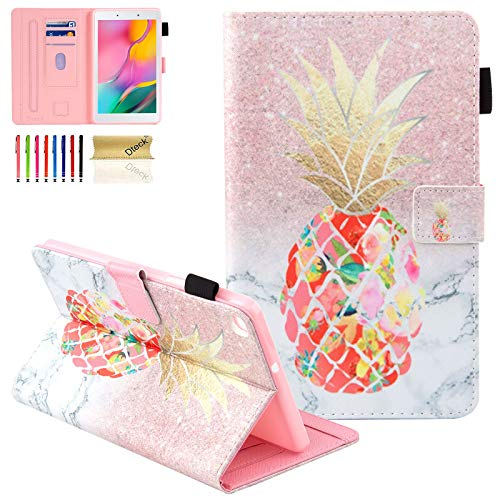 Dteck Galaxy Tab A 8.0 2019 Case T290 T295, Folio Protective Multiple Viewing Angles Stand Cover for Samsung Galaxy Tab A 8.0 2019 Without S Pen Model (SM-T290 Wi-Fi, SM-T295 LTE), Colorful Pineapple
