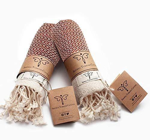 Smyrna Original Turkish Hand Towels | 100% Cotton, Prewashed, 16 x 40 Inches | Decorative Bathroom Peshtemal Towel for Hand, Face, Hair, Gym, Yoga, Tea, Dishcloth, Kitchen and Bath (Orange)
