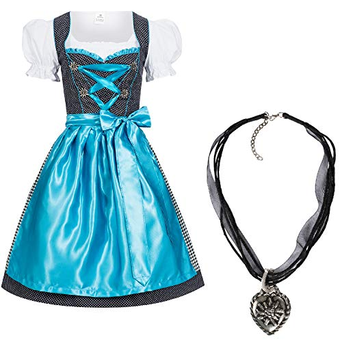 Mufimex Dirndl Set 4 TLG. Karla Dots Hellblau mit Bluse und Schürze + Halskette 36