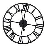 Cocoarm Reloj de Pared Mudo Vintage, Reloj de Pared de PéNdulo Romano de Estilo Industrial Reloj de Metal Antiguo con NúMeros Romanos Restaurante Negro DecoracióN de Café en Casa(60cm)