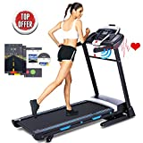 ANCHEER 3.25HP Folding Treadmill, Electric Automatic Incline Treadmill, Easy Assembly Fitness Motorized Running Jogging Machine with APP Control (Black Clip Blue)