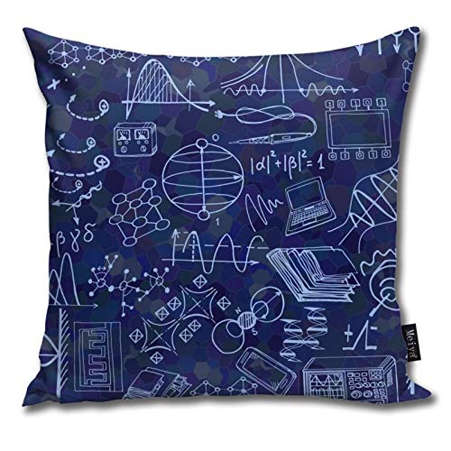QUEMIN Nanotechnology and Physics Science Pillow Cover, Comfortable Cotton Pillow Case for Sofa, Living Room, Sofa, Decorative Square Pillow Case 18 x 18 inches