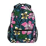 LIUBT Mochila casual de flores polinesias para estudiantes de la escuela bolsa de viaje senderismo...