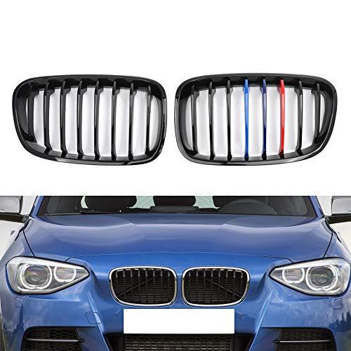 MYlnb Für BMW F20 5D F21 3D 1er 2011-2015, glänzend schwarz M Farbe Frontstoßstangengrill Nierengitter