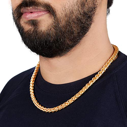 Thrillz Most Popular Spiral Rope Link Gold Plated Chain For Men & Boys