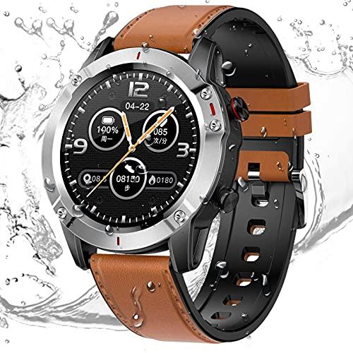HCLKSTORE Smartwatch Fitness Tracker Reloj Inteligente Hombre Pulsera Actividad IP68 con Correa Repuesta Monitoreo del Sueño de Oxígeno Presión Arteri para iOS y Android (Plata)