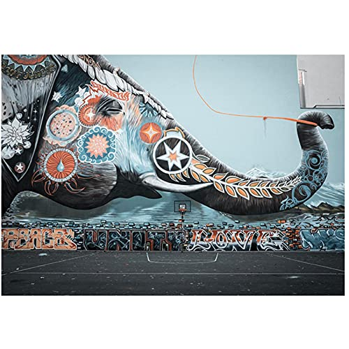 Lefgnmyi Elefante Graffiti en la pared de una cancha de baloncesto Graffiti Art Canvas Painting Posters e impresiones Wall Canvas Art Home Decor-24x32 IN Sin marco