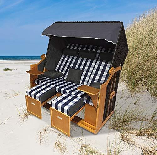 """Home>it® Premium Rattan Strandkorb """"Ostsee-XXL"""" 158 cm breit 3-Sitzer Vollieger"""