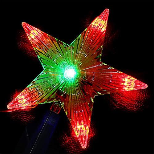WARRT Arbol de Navidad Luz Led Estrella De Cinco Puntas Lámpara Árbol De Navidad Luces Superiores para Las Luces Decorativas De Hadas De Navidad Enchufe de la UE Rojo