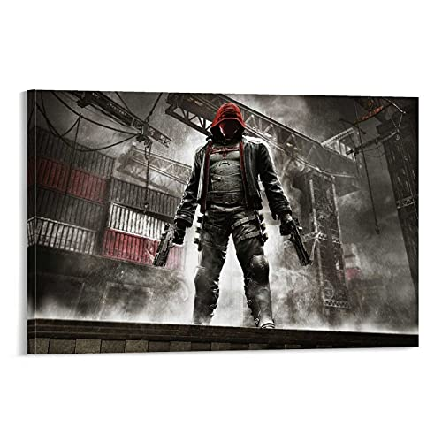 WDSHENG Póster de Batman Arkham Knight con capucha roja, 40 x 60 cm
