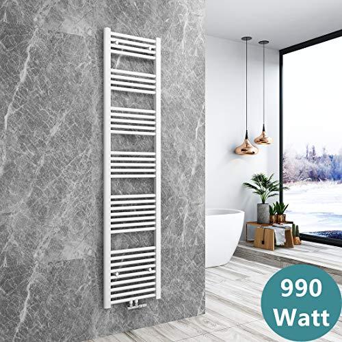 Bath-mann Heizkörper Badheizkörper Handtuchhalter für heizung Handtuchtrockner Bad Mittelanschluss Handtuchwärmer, Horizontal 180x40cm Weiß