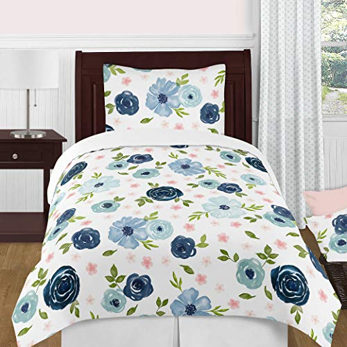 Sweet Jojo Designs Navy Blue and Pink Watercolor Floral Girl Twin Size Kid Childrens Bedding Comforter Set - 4 Pieces - Blush, Green and White Shabby Chic Rose Flower