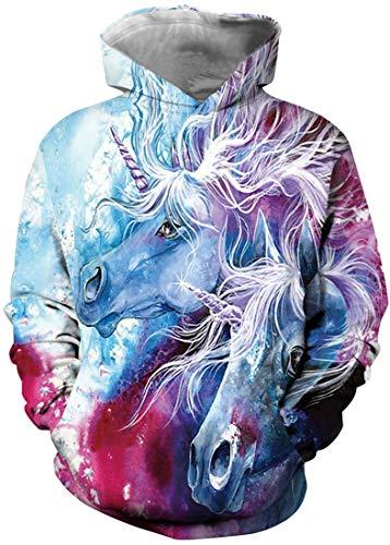 EMILYLE Navidad Novedad Diseño Halloween León Llama Animal Bonita Mola Impresión Sudadera Deportiva para Niñas AdolescentesXS,Unicornios