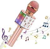 Komake Micrófono karaoke Inalámbrico, Micrófono Bluetooth Portátil con Luces LED y Altavoces Controlados Por Voz,Compatible con Android/iOS AUX PC,Adecuado Para Niños Cantando y Fiestas Musicales